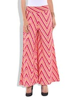 pink Geometric and chevron Printed Cotton Palazzos -  online shopping for Palazzos