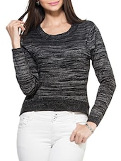 Black Silver Shimmer Round Neck Full Sleeved Pullover - ZOVI