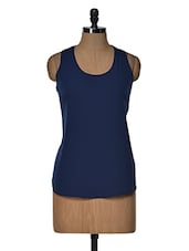White Bow Navy Blue Top - Popnetic