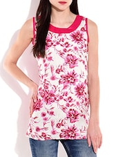 Pink And White Sleeveless Cotton Top - By