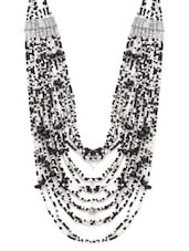 Black And White Beaded Layered Necklace - By