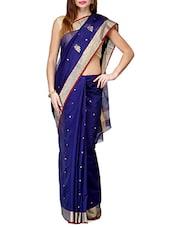 Royal Blue Pure Chanderi Silk  Saree - By