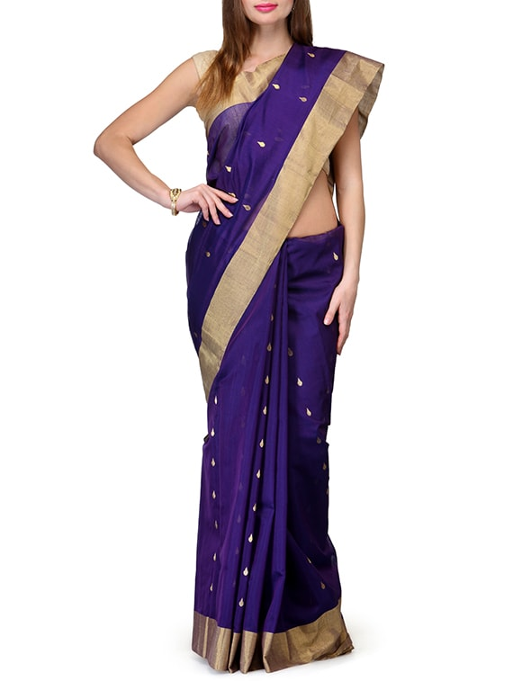 Purple Pure Chanderi Silk  Saree - By