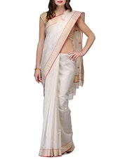 Beige Pure Chanderi Silk  Saree - By