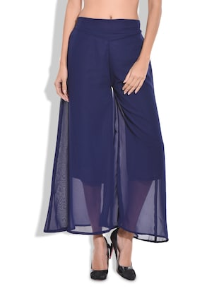Blue polyester sheer palazzo