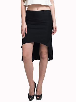 Black Solid  Fit and flare Mini Skirt
