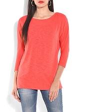Solid Coral Cotton Round Neck Top - By