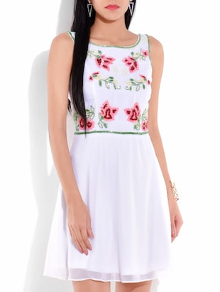 White Floral Fit And Flare Dress