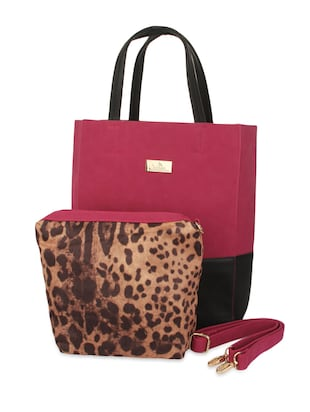 maroon faux leather tote with pouch