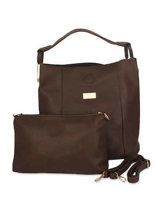 brown textured faux leather handbag with pouch