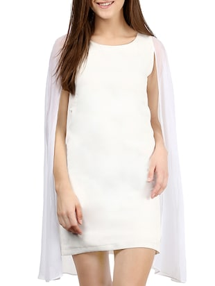 white georgette blend sheath dress
