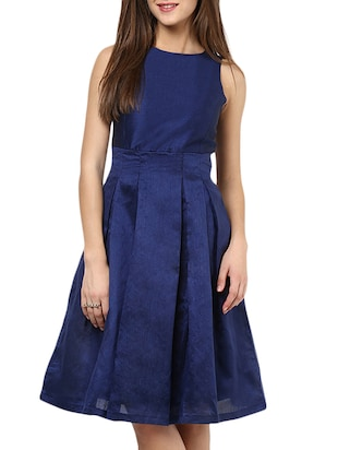 Navy Blue silk blend fit and flare Dresses