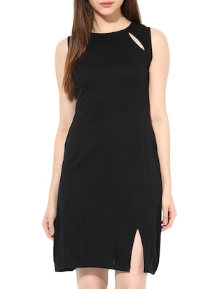black cotton jersey sheath dress