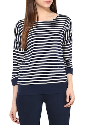 Navy blue Striped cotton jersey Top