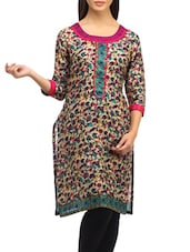 Multicolored Floral Print Poly Cotton Kurti - SUHI