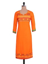 Orange Rayon Embroidered  Kurta - By