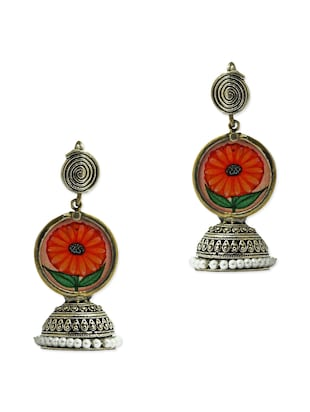 Antique silver hand painted jhumkas
