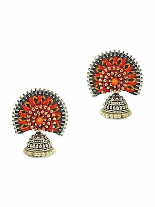 Multicolored hand embroidered jhumkas