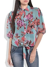 Blue Floral Print Front Knot Top - By