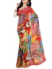 Red Printed Faux Georgette Saree - By