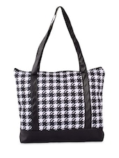 Black And White Printed Shopping Bag - By