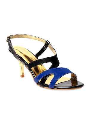 Black and blue faux leather heels