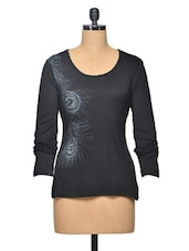 Black Colour Arty Viscose Top - LA ARISTA