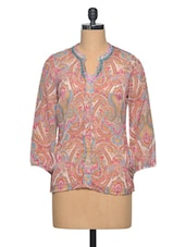 Pink Colour Pinted Polyester Top - LA ARISTA