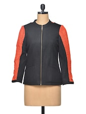 Black Color Block Wool Jacket - LA ARISTA