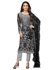 Black And Grey Embroidered Georgette Semistitched Suit Set - By