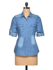 Embellished Denim Cotton Shirt - LA ARISTA
