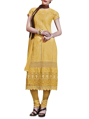 Yellow Embroidered Georgette Semistitched Suit Set