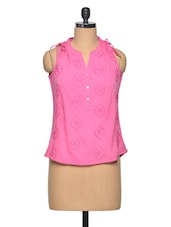 Pink  Embroidered Polyester Top - LA ARISTA