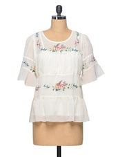 Off White Casual Embroidered With Gathers Polyester Top - LA ARISTA