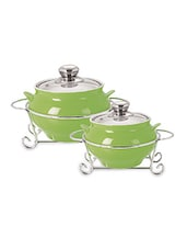 Set Of 2 Green Glass Handi Casseroles- 1000 Ml+ 1500 Ml - By
