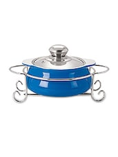 Azure Glass Casserole With Stand- 1000 Ml - By