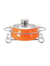 Orange Glass Casserole With Stand- 1000 Ml - By