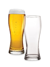 Set Of 2 Clear Beer Glasses - By