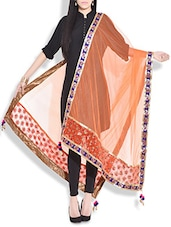 Orange Paisley Embroidered Phulkari Dupatta - By