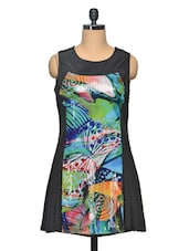 Black Colour Abstract Printed Polyester Dress - LA ARISTA