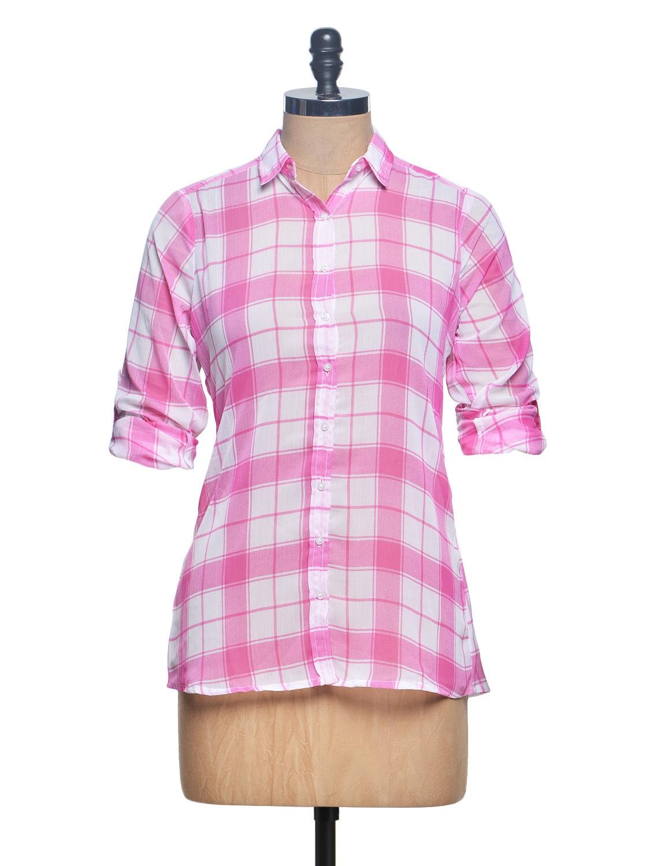 Full Sleeve Pink And White Checks Chiffon Shirt - Paprika