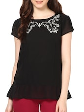 Embroidered Black Poly Georgette Top With Metal Zipper - Paprika