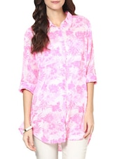 Rollup Sleeve Printed Pink Cotton Voile Shirt - Paprika