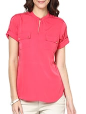 Rollup Short Sleeve Pink Crepe Top - Paprika