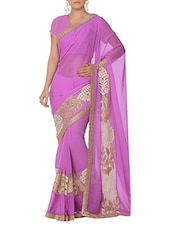 Lavender Chiffon Net Embroidered Sari - By