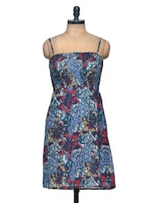Multi Coloured Floral Print Knee Length Georgette Dress - Paprika