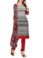 White & Black Crepe Printed Unstitched Suit Set - By