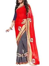 Red & Grey Georgette Jacquard Embroidered Saree - By