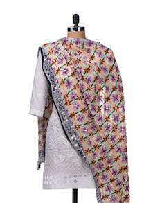 Beautiful White Phulkari Dupatta - Vayana