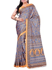 Blue And Orange Printed Crepe Saree - By